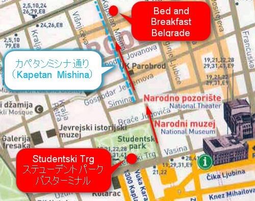 ステューデントパークからB&B Belgradeまで