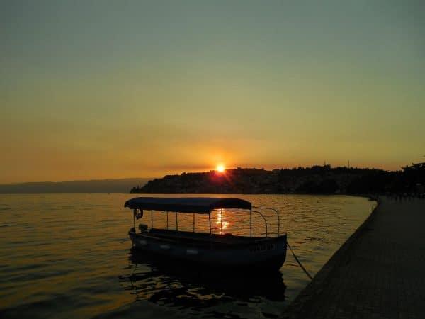 オフリド湖畔 夕暮れ